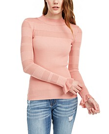 Juniors' Pointelle-Trim Sweater