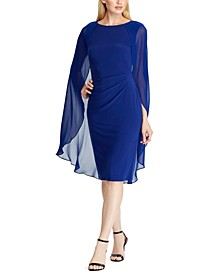 Georgette-Cape Jersey Dress