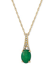 "Emerald (7/8 ct. t.w.) & Diamond (1/20 ct. t.w.) 18"" Pendant Necklace in 10k Gold"