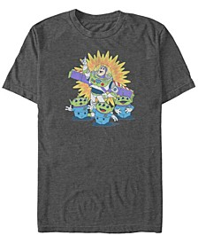 Pixar Men's Toy Story Vintage Inspired Buzz and Aliens, Short Sleeve T-Shirt