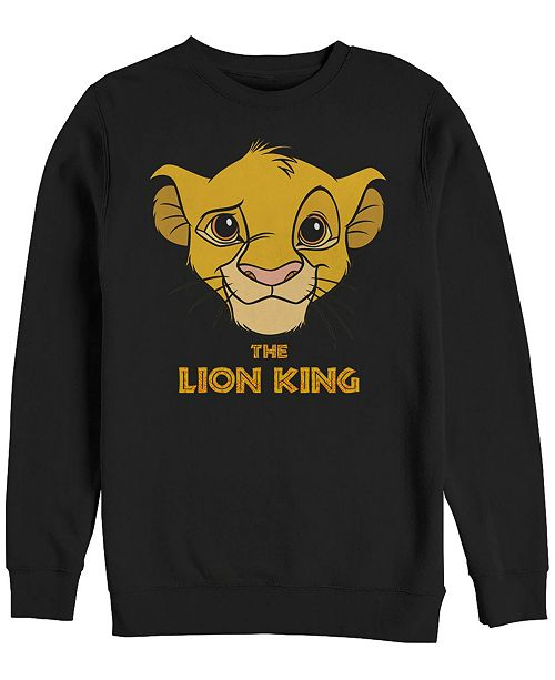Disney Men's Lion King Young Simba Face, Crewneck Fleece