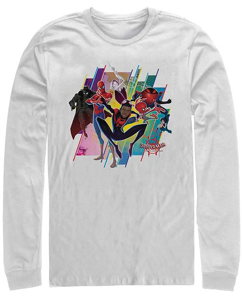 Marvel Men's Spider-Man Into the Spider-Verse Miles Morales Group, Long Sleeve T-shirt