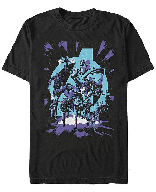 Marvel Men's Avengers Endgame Group Shot Comic Logo, Short Sleeve T-shirt