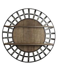 American Art Decor Rustic Round Wall Shelf Organizer