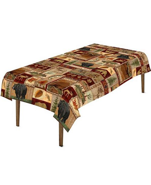 "Laural Home Lodge Collage Tablecloth -70""x 120"""