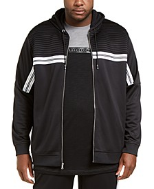 INC Men's Big & Tall Chest Stripe Zip-Front Hoodie, Created for Macy's