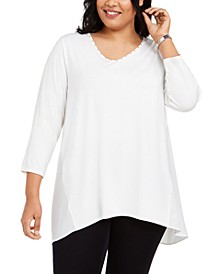 Plus Size Studded Mixed-Media Top, Created For Macy's