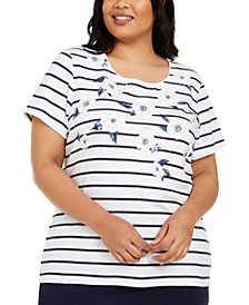Plus Size Embellished Striped Floral-Print Top, Created for Macy's