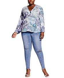 Trendy Plus Size Crystal Floral-Print Top