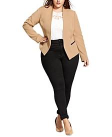 Plus Size Classy Sassy Open-Front Jacket