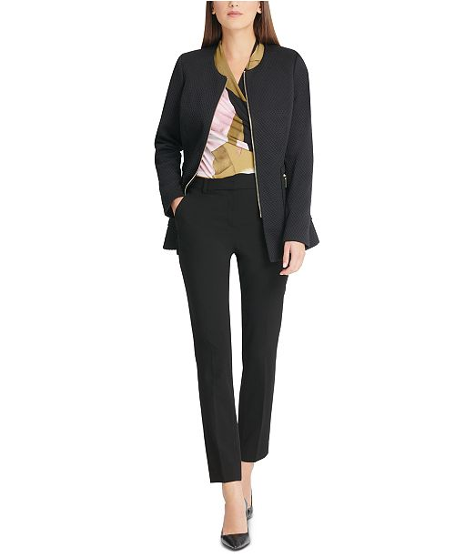 DKNY Zippered Textured Jacket, Printed Surplice-Neck Top & Stretch Crepe Essex Pants