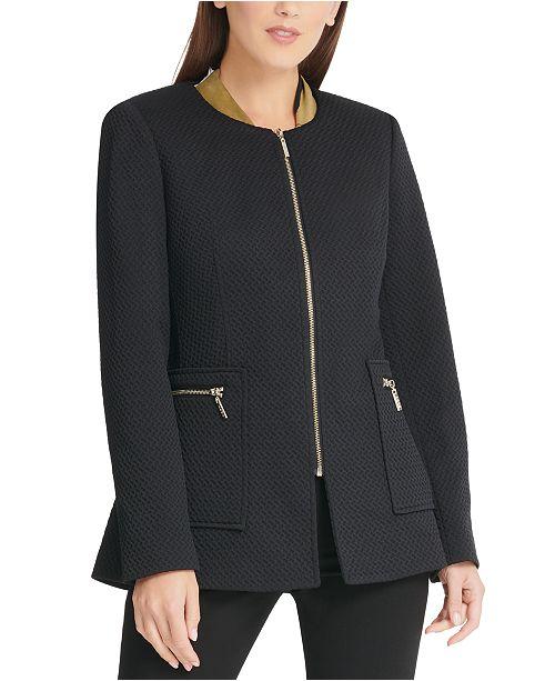 DKNY Zippered Textured Jacket