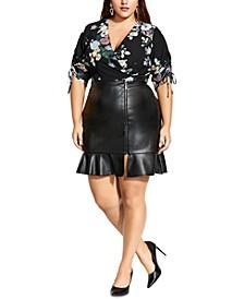 Trendy Plus Size Ruffle-Trim Zippered Faux-Leather Mini Skirt