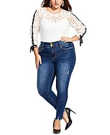 Plus Size Asha Raw-Hem Jeans