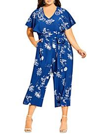 Trendy Plus Size Batwing-Sleeve Tie-Waist Jumpsuit