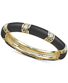 Cubic Zirconia Black Enamel Stacking Ring in 18k Gold-Plated Sterling Silver (Also available in Red or White)
