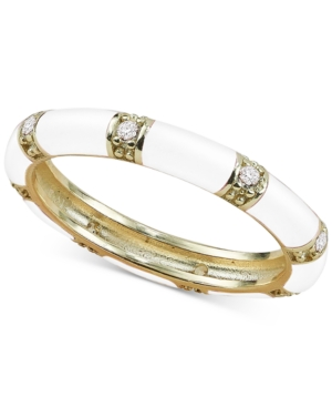 Cubic Zirconia Enamel Stacking Ring in 18k Gold-Plated Sterling Silver