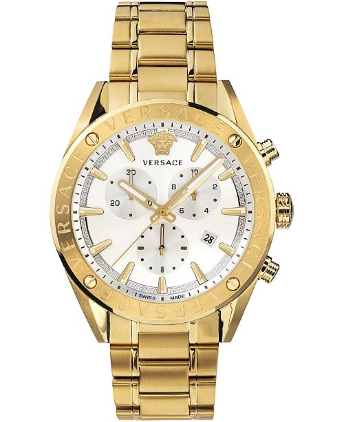 Versace Men's Swiss V-Chrono Gold Ion-Plated Stainless Steel Bracelet Watch 44mm