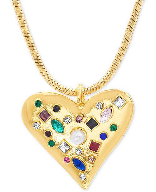 "Steve Madden Gold-Tone Multicolor Rhinestone & Imitation Pearl Heart Pendant Necklace, 25"" + 3"" extender"