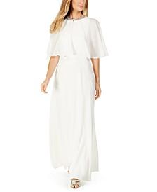 2-Pc. Rhinestone Chiffon Capelet Gown