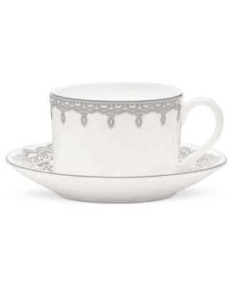 Lismore Lace Platinum Teacup and Saucer