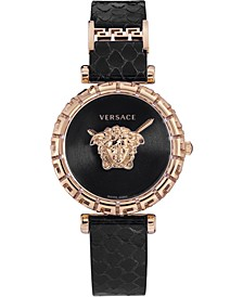Women's Swiss Palazzo Empire Greca Black Elaphe Strap Watch 37mm