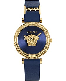 Women's Swiss Palazzo Empire Greca Blue Leather Strap Watch 37mm