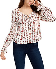 Juniors' Floral-Printed O-Ring Top
