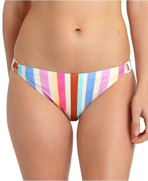 California Waves Juniors' Striped Ring Hipster Bikini Bottoms, Created For Macy's