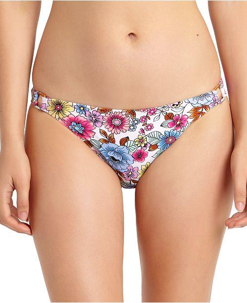 California Waves Juniors' Floral-Print Hardware-Side Bikini Bottoms, Created For Macy's