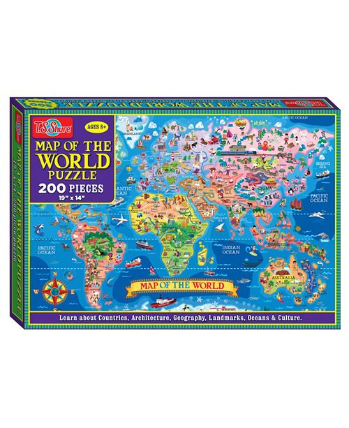 T.S. Shure Map of The World Jigsaw Puzzle, 200-Piece