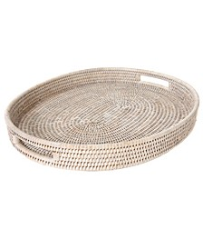 Artifacts Rattan Oval Tray with Cutout Handles