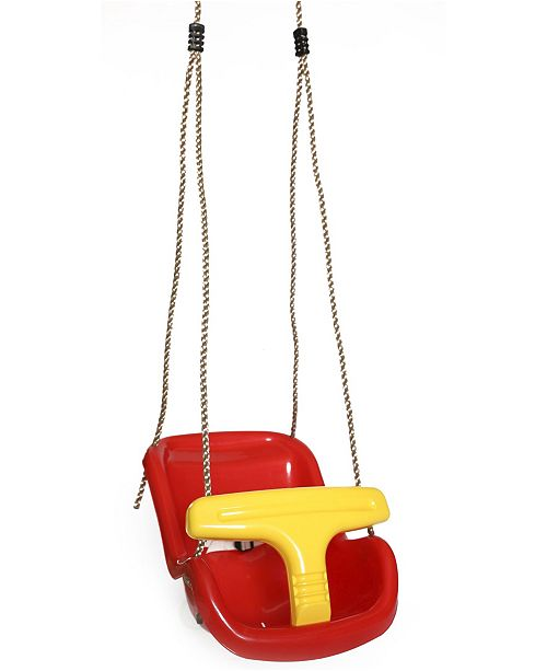 Playberg Red Plastic Baby and Toddler Swing Seat with Hanging Ropes