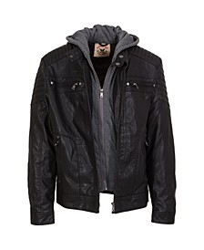 Big Boys Zip Front Vegan Leather Updated Moto with Quilted Design Sleeve Details, Zip Out Fleece Bib and Hood