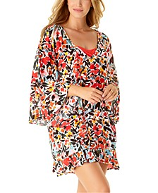 Sunset Floral Flounce V-Neck Tunic Swim Cover-Up