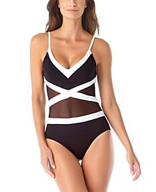 Colorblocked Mesh V-Neck One-Piece Swimsuit