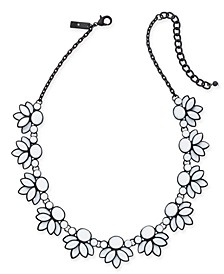 "INC Black-Tone Stone Cluster Collar Necklace, 17"" + 3"" extender, Created For Macy's"