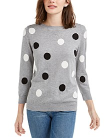 3/4-Sleeve Polka-Dot Sweater, Created For Macy's