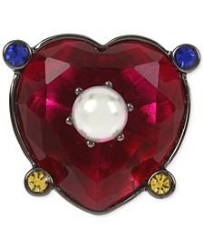 Hematite-Tone Multicolor Crystal & Imitation Pearl Heart Ring