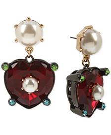 Hematite-Tone Stone Heart & Imitation Pearl Drop Earrings