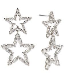 Silver-Tone Crystal Open Star Double Drop Earrings