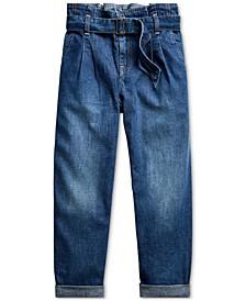 Big Girls Cotton Denim Paperbag Jeans