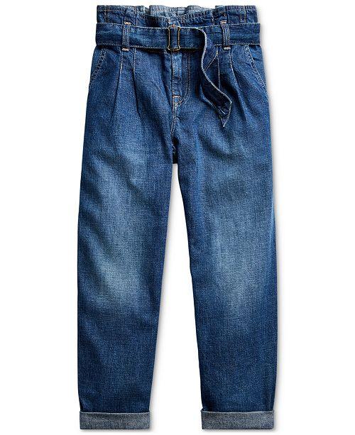Polo Ralph Lauren Big Girls Cotton Denim Paperbag Jeans