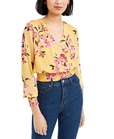 Printed Surplice-Neck Smocked Cropped Top, Created for Macy's