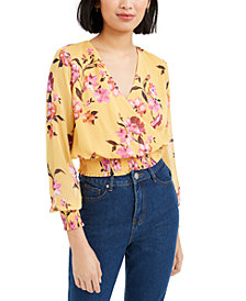 Bar III Printed Surplice-Neck Smocked Cropped Top, Created For Macy's