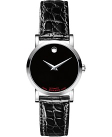 Women's Swiss Automatic Red Label Black Leather Strap Watch 26mm