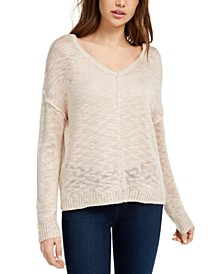 Juniors' Reversible Button-Back Sweater
