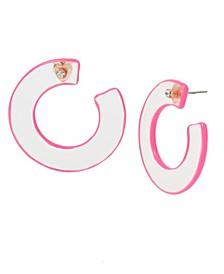 """Medium Pink Translucent Hoop Earrings 1-1/2"""""""