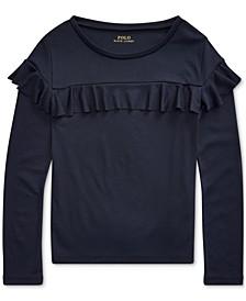 폴로 랄프로렌 걸즈 탑 Polo Ralph Lauren Big Girls Ruffled Cotton-Modal Top