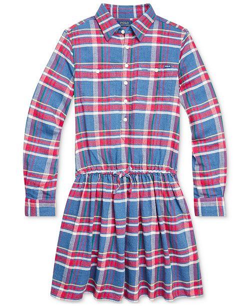Polo Ralph Lauren Big Girls Plaid Cotton Twill Dress